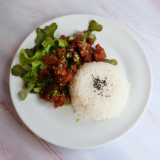 Fried Chicken with Korean Sauce on Rice